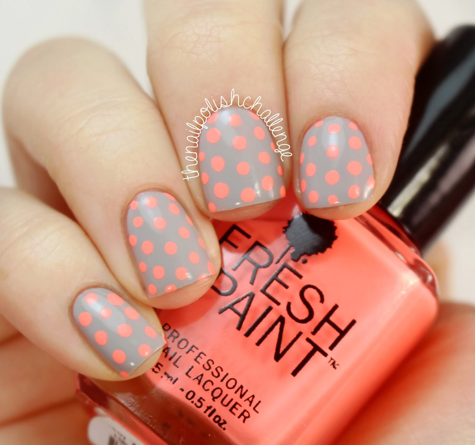 Gray and neon polka dot nails the nail polish challenge neon