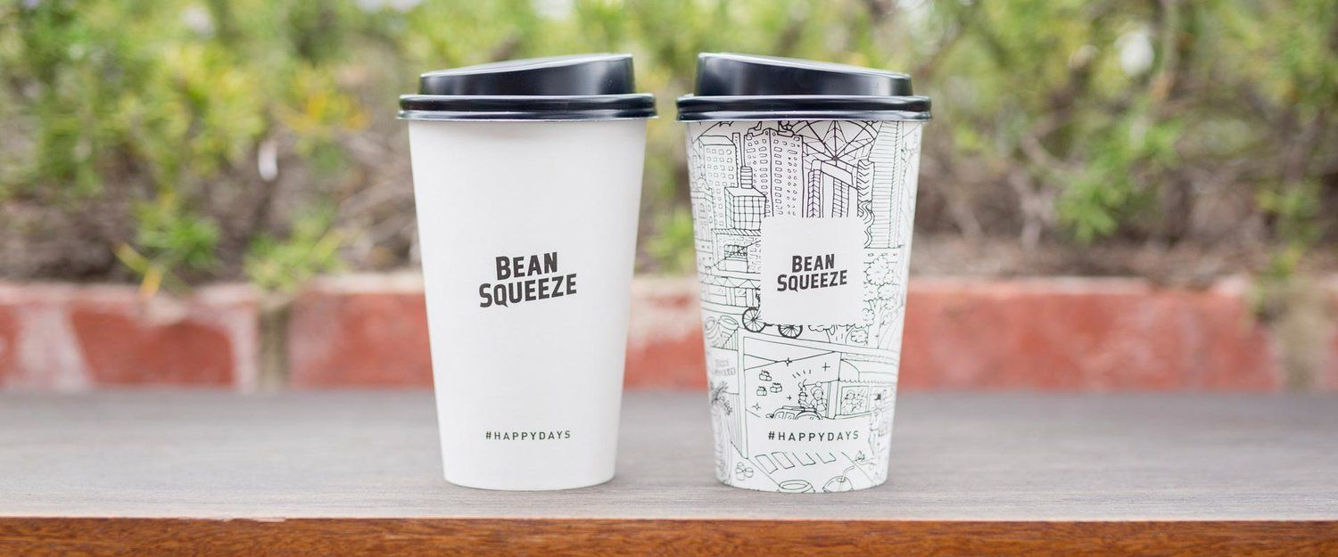Biopak Coffee Cups With Bean Squeeze Artwork The Hand Illustrated Artwork On The Right Is By Local Geelong Artist Georgia Naughto Snack Smoothie Beans Coffee