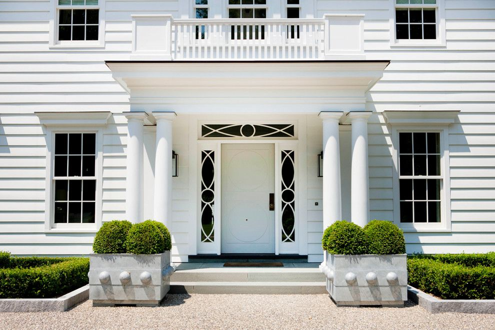Image result for gray and white house with boxwood planters ...