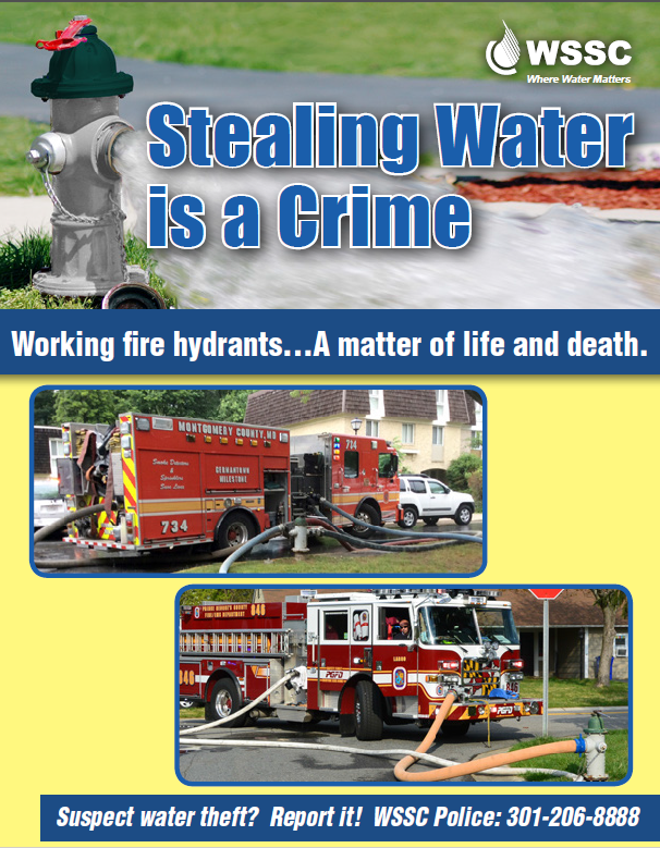 photo graphic saying Stealing water is a crime