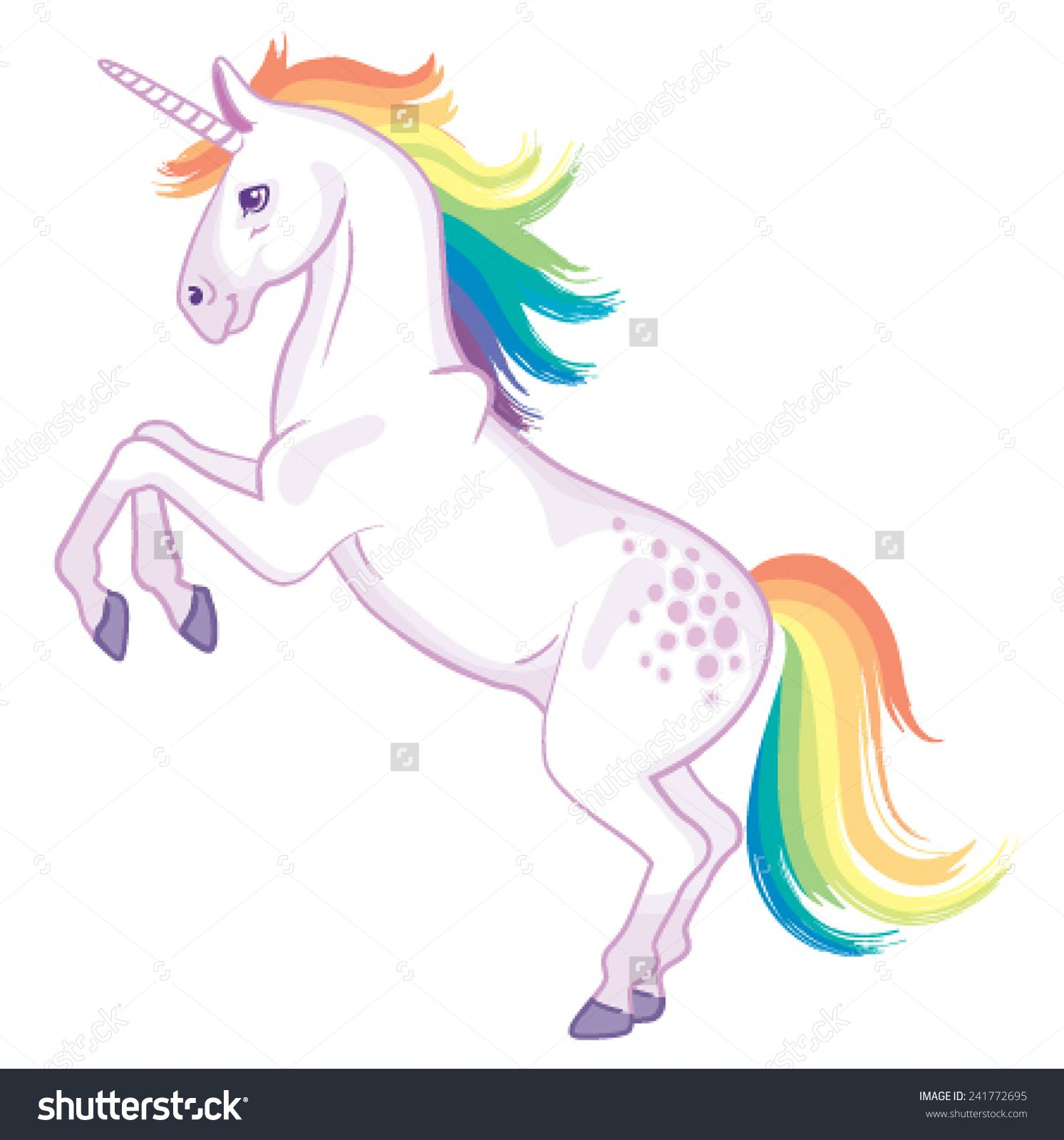 A Cartoon Unicorn With Rainbow Mane And Tail Rearing Up On Its
