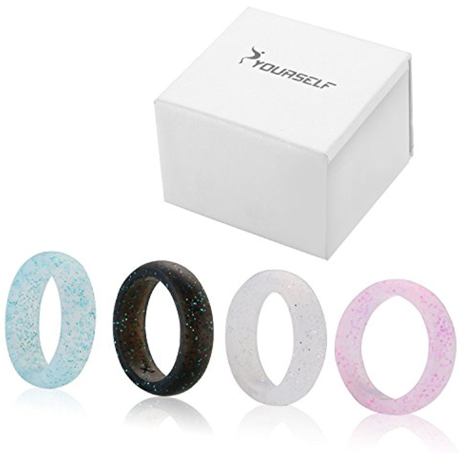 Syourself Silicone Wedding Ring Band for Men or Women Safe