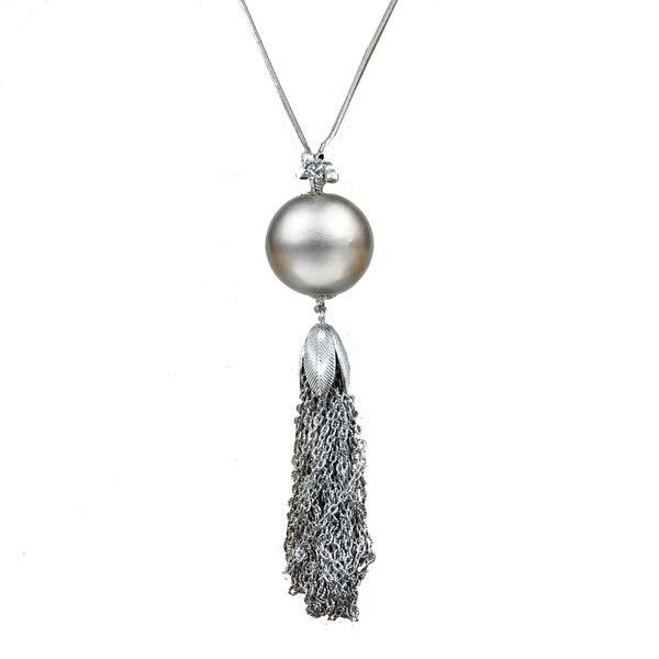 "30"" Platinum Bauble Tassel Necklace (M2)"
