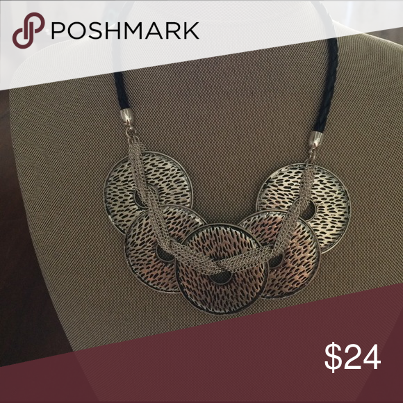 Common Thread Necklace Silver plated, antique matte silver plated, faux leather. Premier Designs Jewelry Necklaces