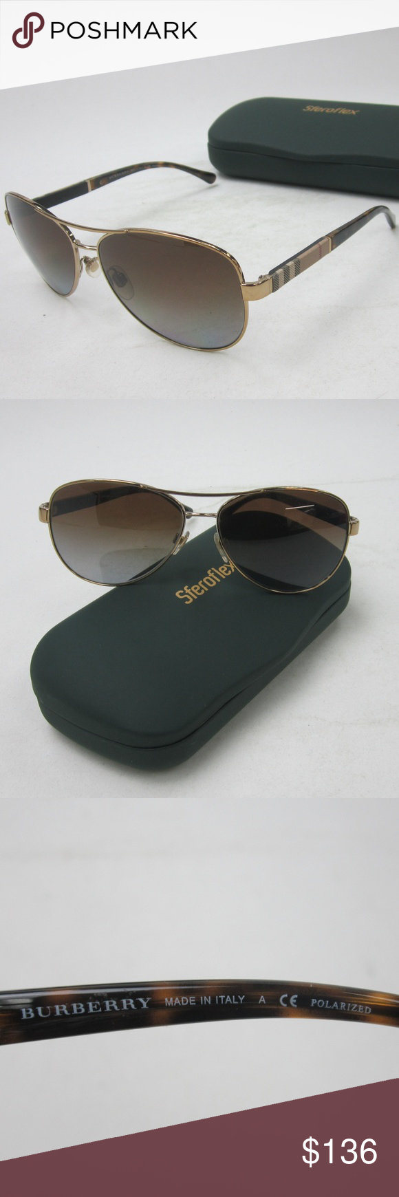 e71fa0a63bc7 Burberry B 3080 Aviator Sunglasses  Italy OLI333 Burberry B 3080 1145 T5 Aviator  Unisex Polarized Sunglasses  Made in Italy OLI333 Frame is in great ...