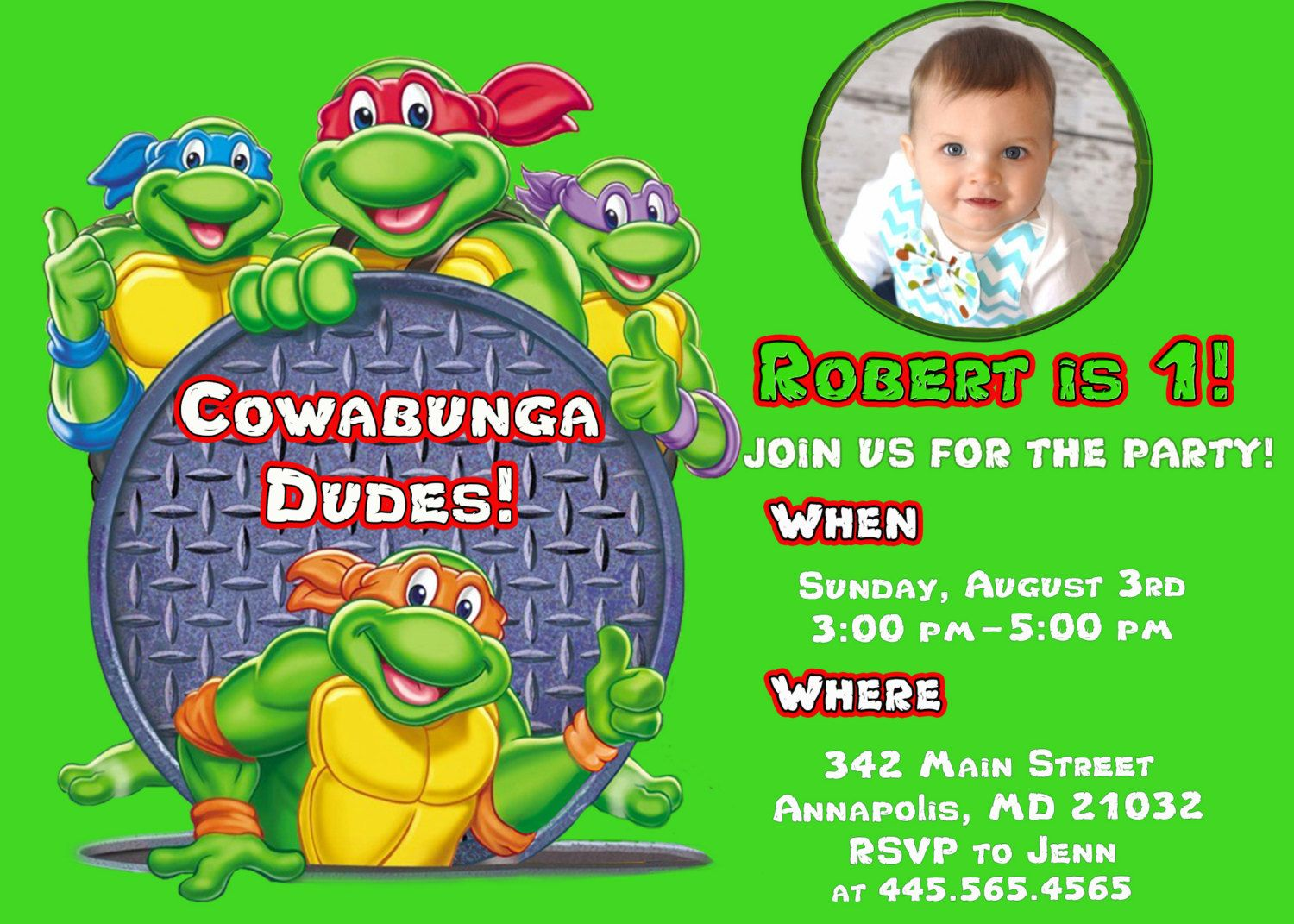 Awesome Ninja Turtle Birthday Party Invitations | FREE Baby Shower ...