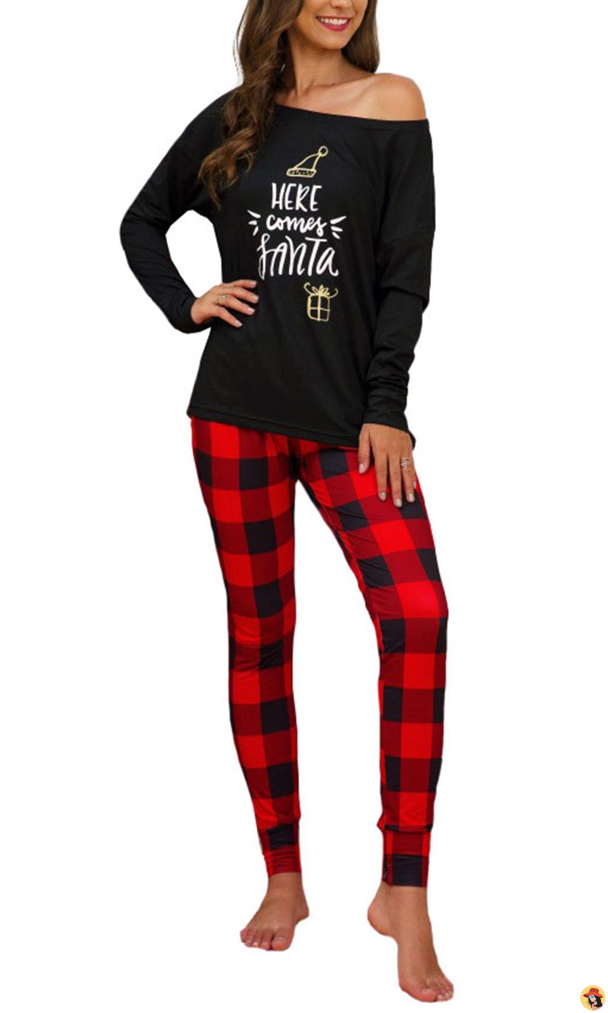 Plus Size Women Christmas Pajamas Matching Sets Long
