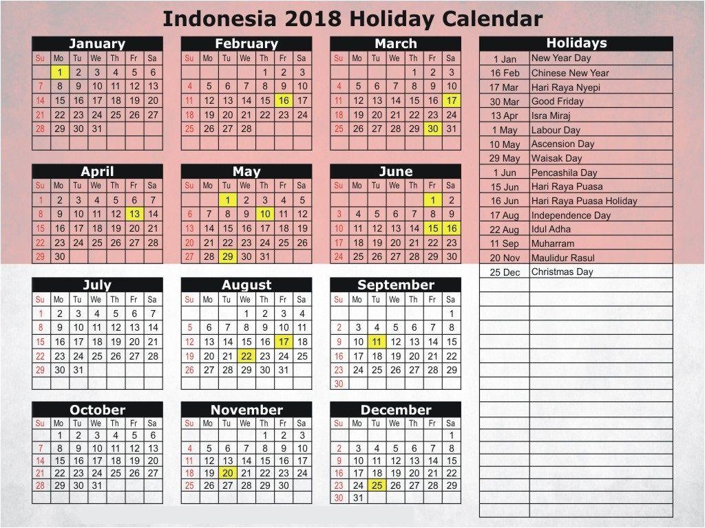 November 2018 Calendar Indonesia Calendar Indonesia November National Holiday Calendar Holiday Calendar 2018 Holiday Calendar