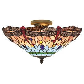 Channeling elegant Art Deco style, this brass finished light showcases a beautiful tiffany glass shade. Pair with a large bevelled glass mirror to tie the look together.  Product: Semi-flush wall lightConstruction Material: Brass and tiffany glassColour: Brass, blue, red, orange, green and yellowAccommodates: (3) E27 100 Watt bulb - not includedDimensions: 25 cm H x 45 cm Diameter
