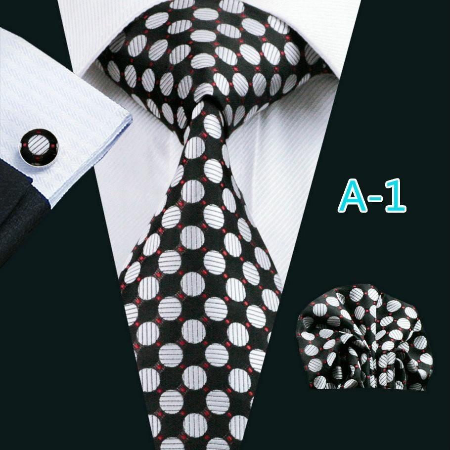 USA Mens Tie Set Black White Polka Dot Silk Necktie Hanky Cufflinks Wedding Gift