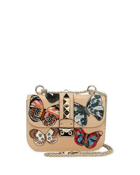 Valentino Garavani Lock Small Butterfly Shoulder Bag Beige