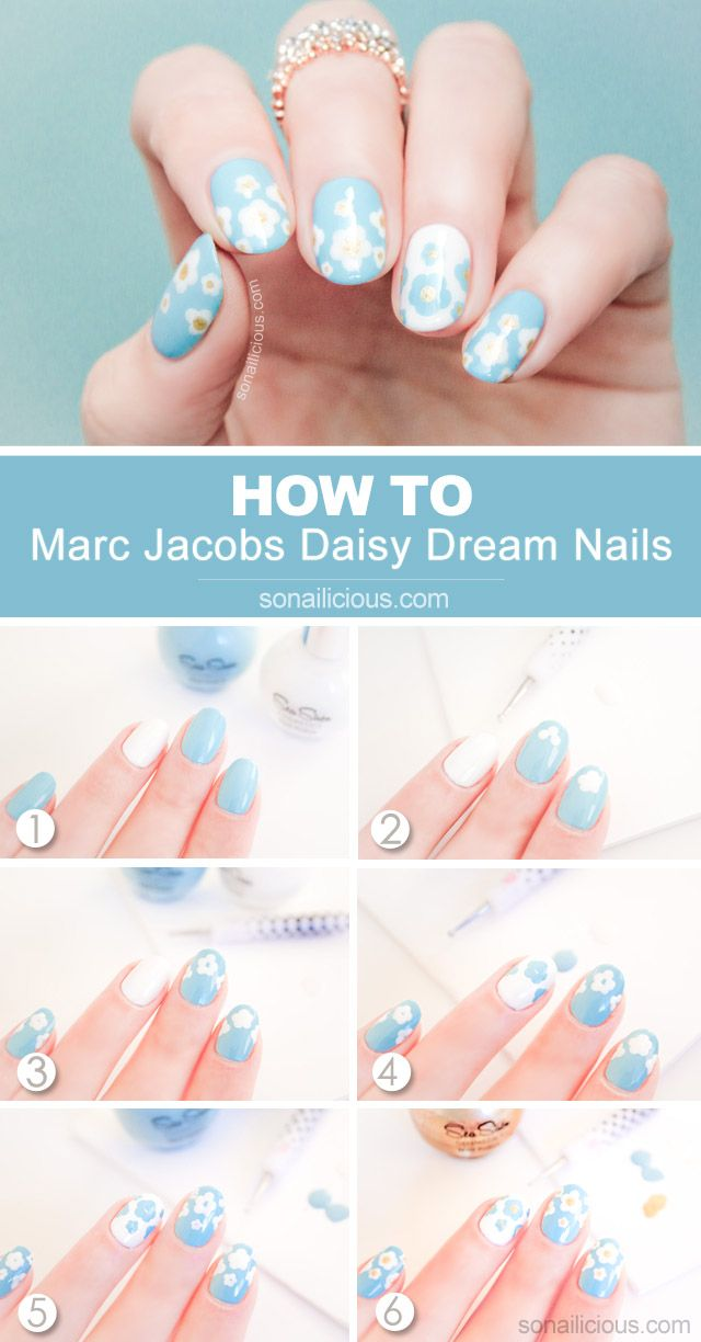 Marc Jacobs Daisy Nails How-To: http://sonailicious.com/marc-jacobs-daisy-dream-nails-how-to/