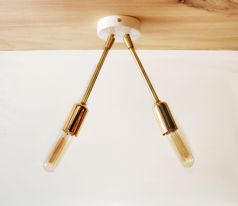 Ceiling light fixture Modern Brass Ceiling Semi Flush Mount 2 Arm