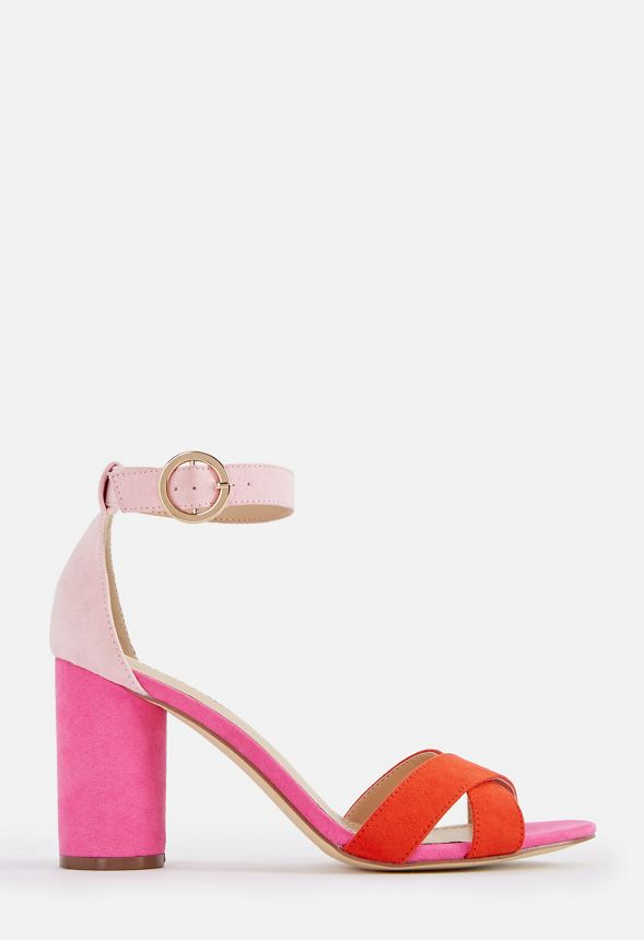 29943bccc JustFab Kasia Heeled Sandal Womens Pink Size Standard Width ...