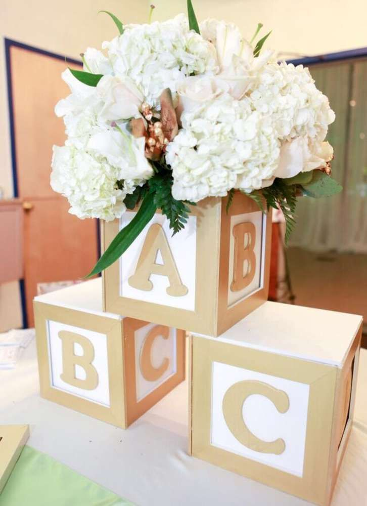Baby Blocks Baby Shower Party Ideas Photo 3 Of 30 Baby Blocks Baby Shower Baby Shower Centerpieces Floral Baby Shower Decorations
