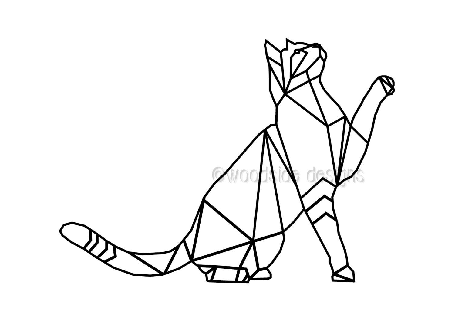 Geometric Cat Art Print, INSTANT DOWNLOAD, Wire Cat, Triangular Art, Printable Black and White Cat Poster, Cat Tattoo Outline, Clip Art