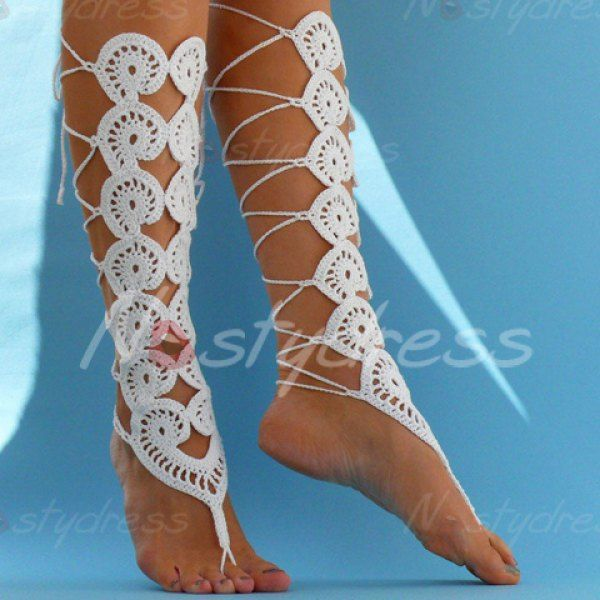 Pair of Chic Handmade Weaved Flower Barefoot Sandals For Women