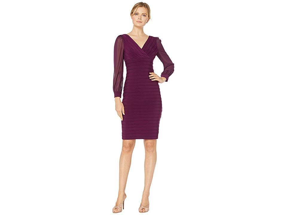 Adrianna Papell Jersey and Chiffon Banded Dress - Women's Dress : Shiraz : Look your best in this sheath Adrianna Papell Dress that flaunts a banded jersey body and sheer chiffon sleeves. V-neckline and long sleeves with buttoned cuffs. Concealed zipper back closure. Dress is lined. Straight hemline falls above the knees. 95% polyester, 5% elastane. Lining: 100% polyester. Dry clean only. Imported. Measurements: Length: 40 in Chest Measurement: 28 in Sleeve Length: 17 in Product measurements wer