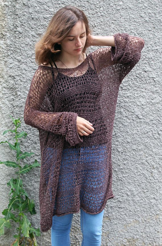 Loose knit long summer sweater plus size oversized beach tunic ...