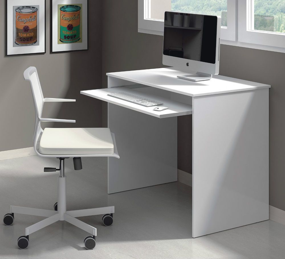 Milan Small White Gloss Desk Computer Table Laptop 002314bo With