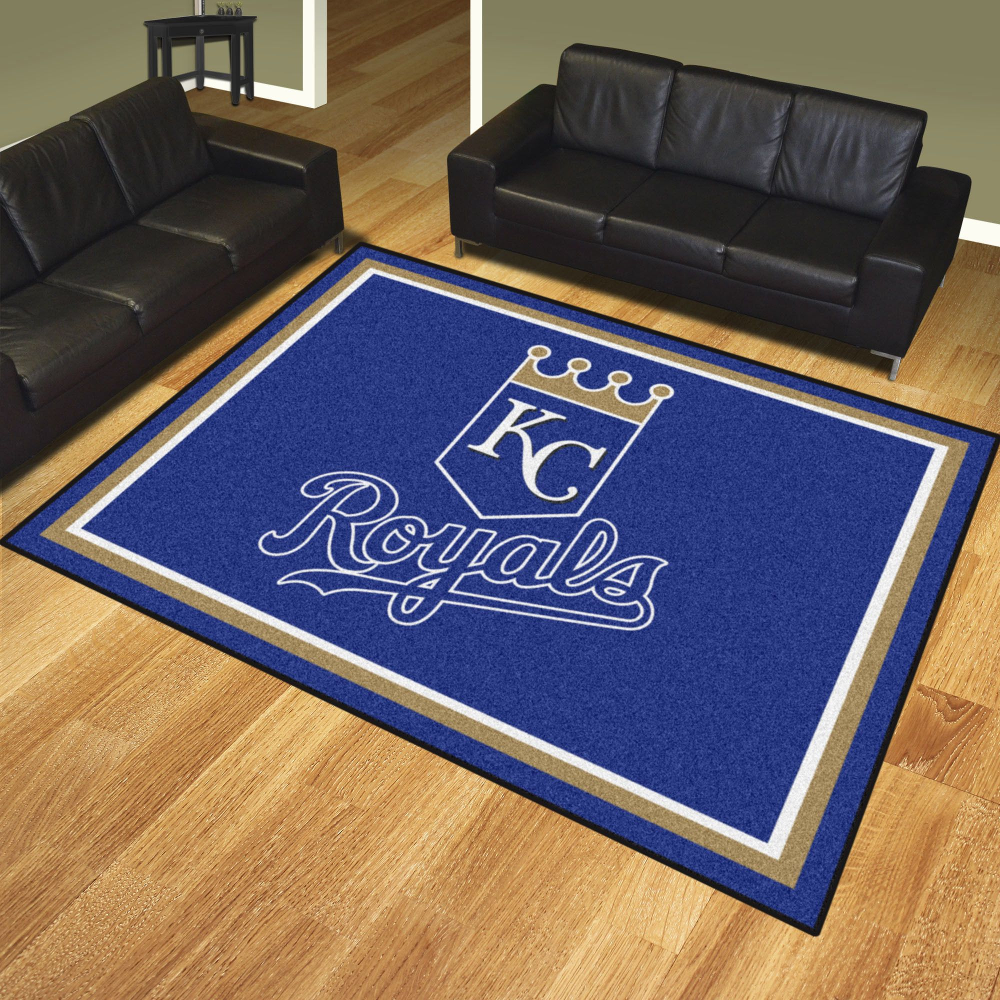 "Kansas City Royals 8x10 Rug - Show your team pride and add style to your tailgating party with Sports Licensing Solutions area rugs. Made in U.S.A. 100% nylon carpet and non-skid Duragon(R) latex backing. Officially licensed and chromojet printed in true team colors.FANMATS Series: RUG8X10Team Series: MLB - Kansas City RoyalsProduct Dimensions: 87""x117""Shipping Dimensions: 35""x24""x7"". Gifts > Licensed Gifts > Mlb > Kansas City Royals. Weight: 33.00"