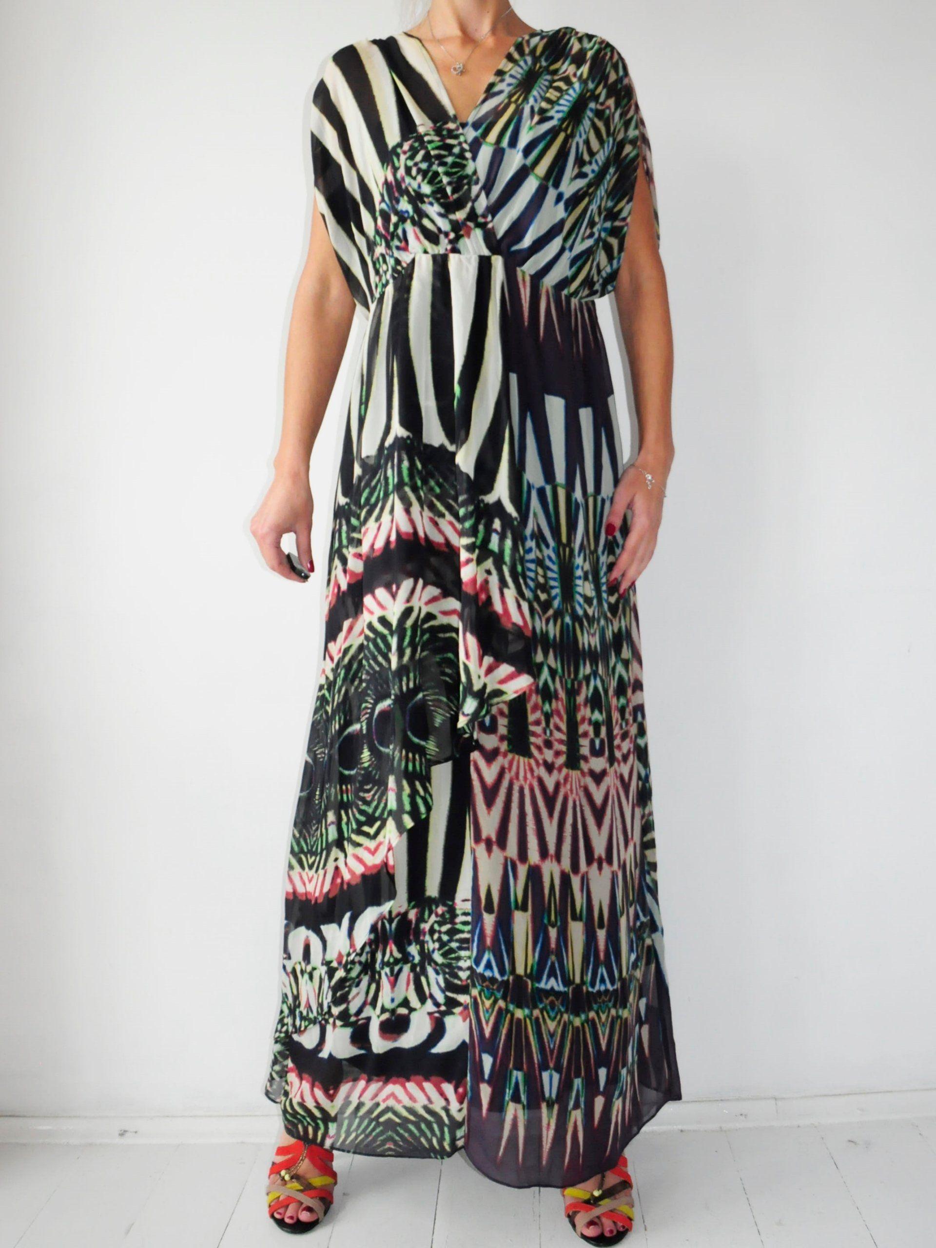 Planet Wzorzysta Dluga Sukienka Wzorek 40 7028648967 Oficjalne Archiwum Allegro Maxi Dress Fashion Dresses With Sleeves