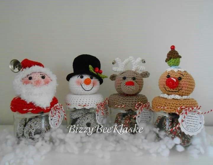 Kerst potjes | Weihnachten | Pinterest | Häkeln, Weihnachten und Deckel