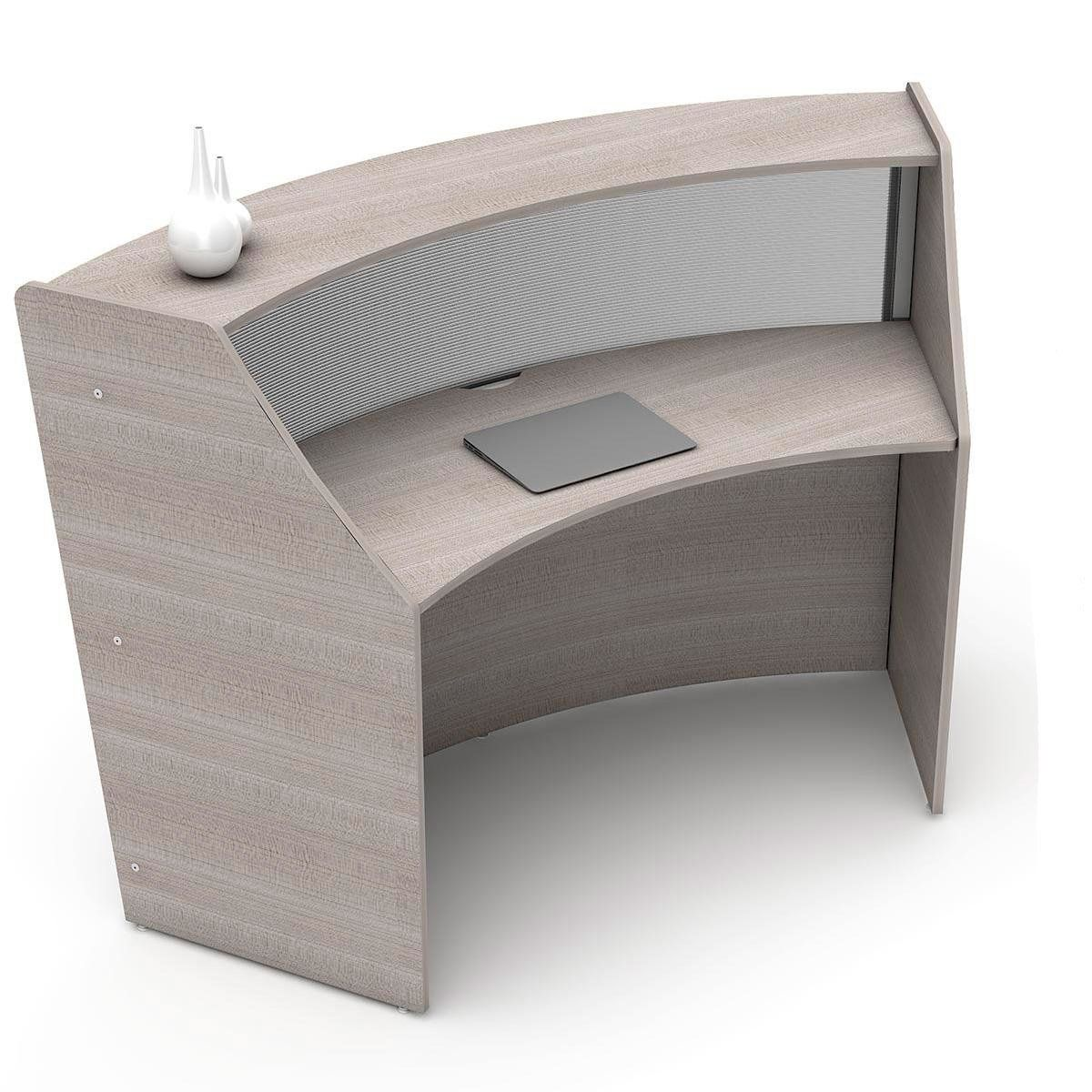 Linea Italia Curved Reception Desk Single Unit Clear Panel Ash
