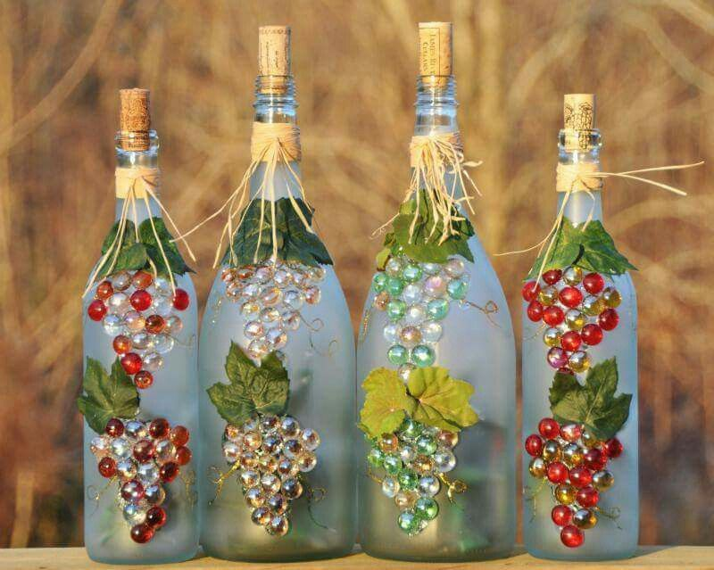 Weinflasche Mit Glasnuggets Artesanato De Garrafa De Vinho