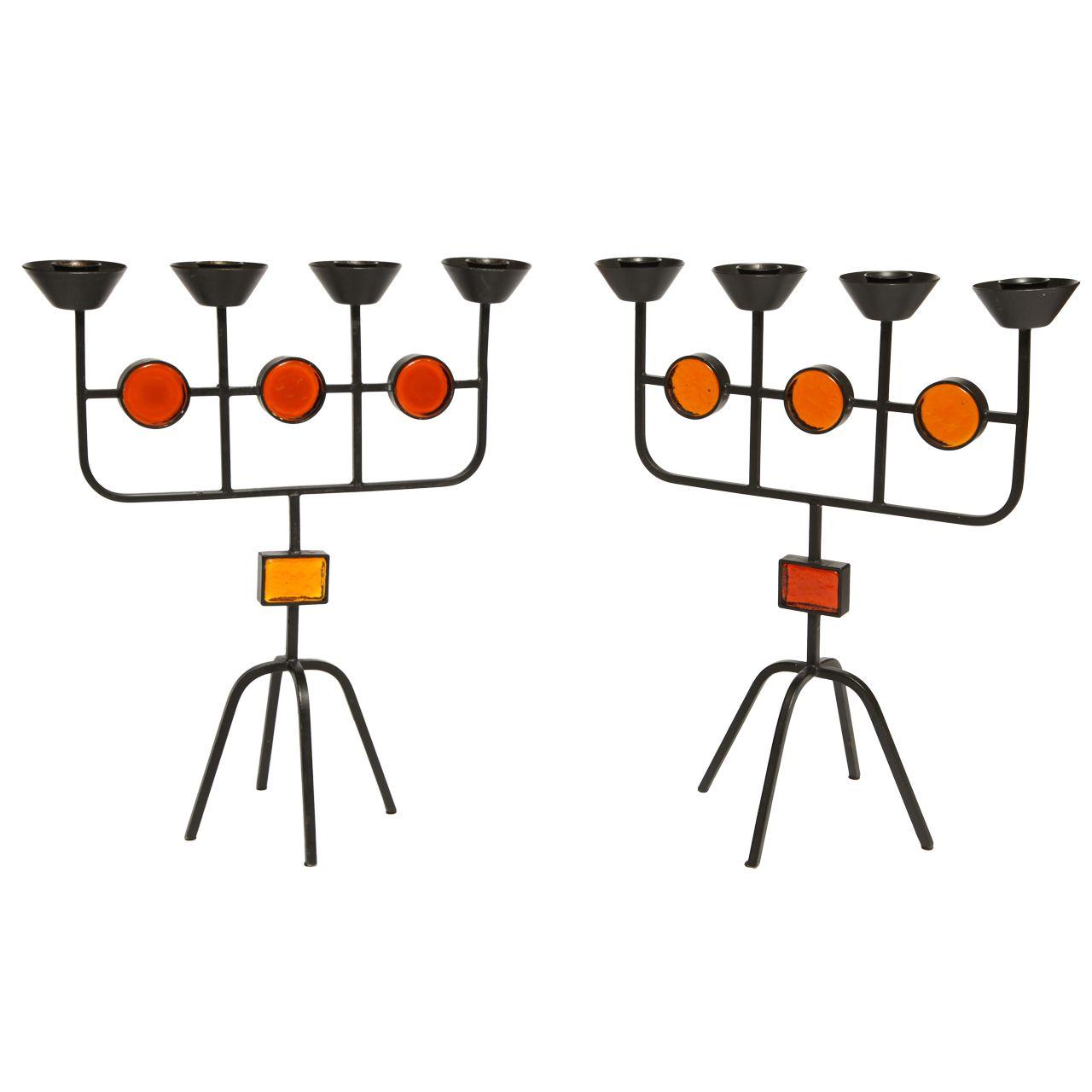 Pair of gunnar ander candelabras for ystad metal candelabra and metals