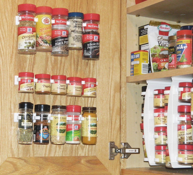 New SpiceStor Organizer Rack 20 Kitchen Cabinet Clips Door Spice Clip  Organizer
