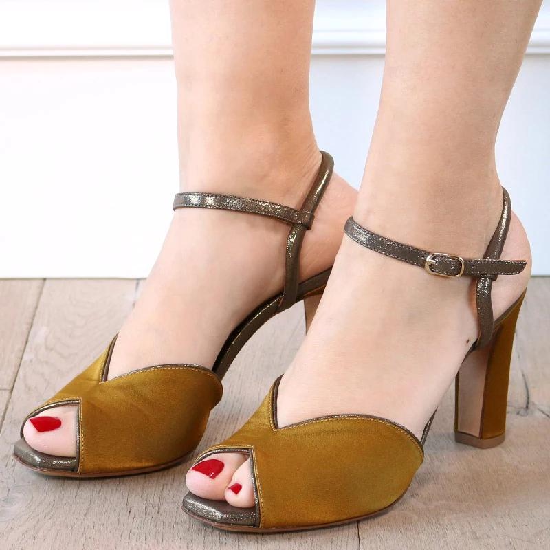 Women Vintage Peep Toe Pumps Chunky