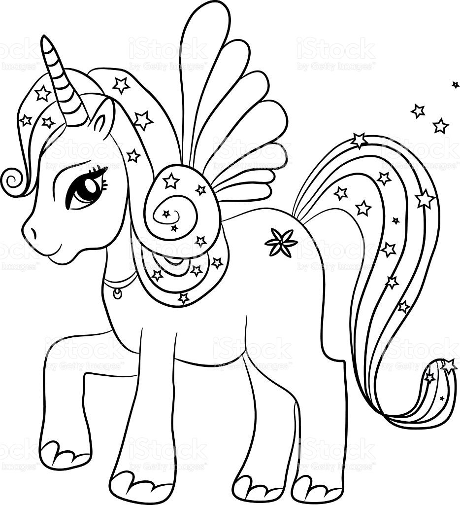 Unicorn Coloring Page For Kids Vector Id487495686 934