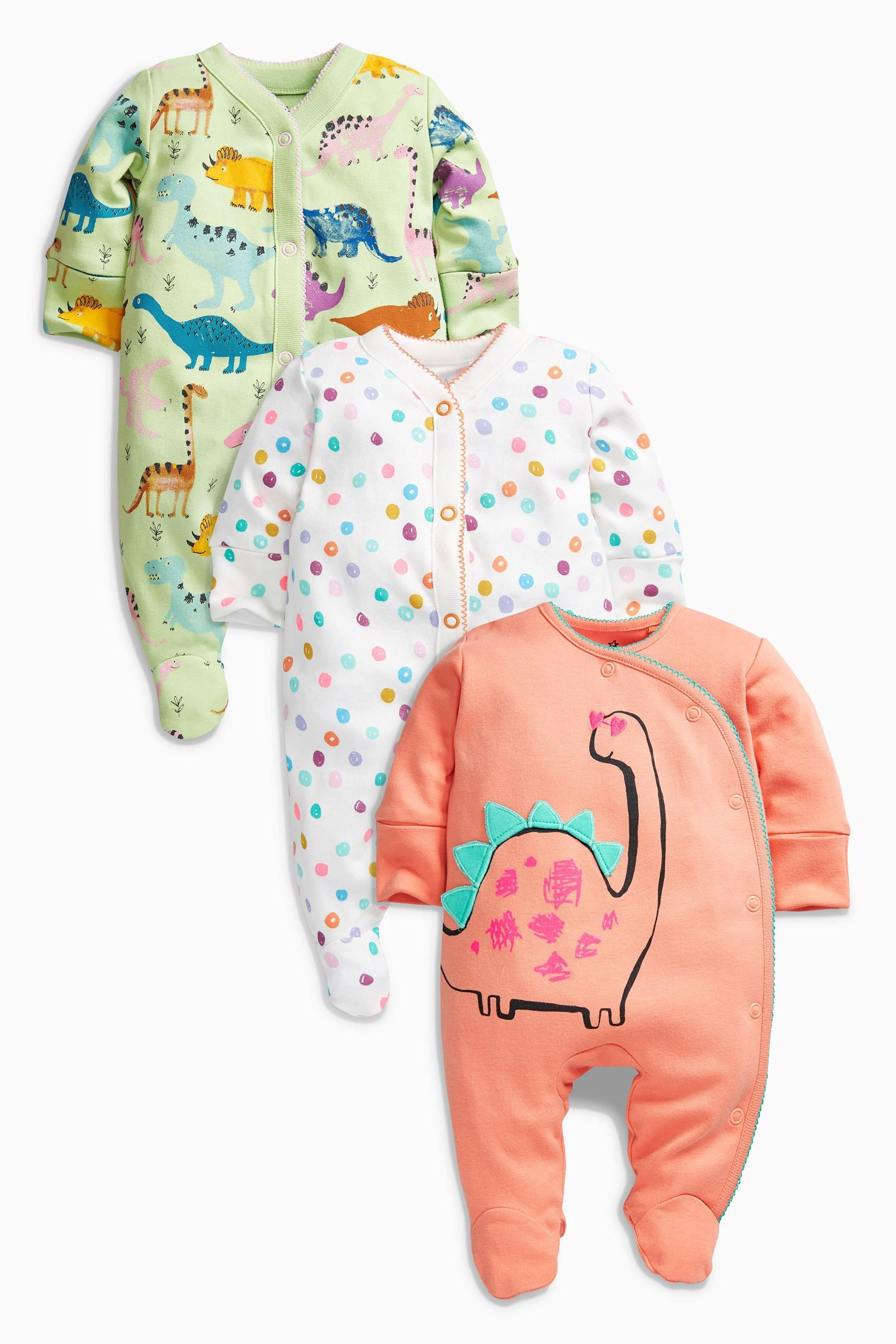 Buy Bright Dinosaur Sleepsuits Three Pack 0mths 2yrs Online Today