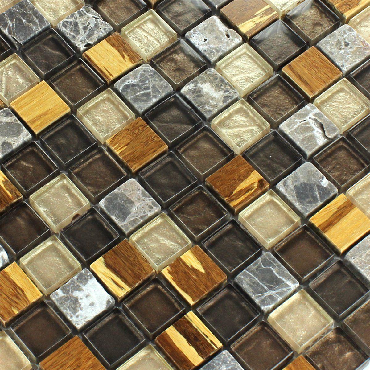 bambus naturfaser marmor glas mosaik fliesen bunt mix - 1 matte