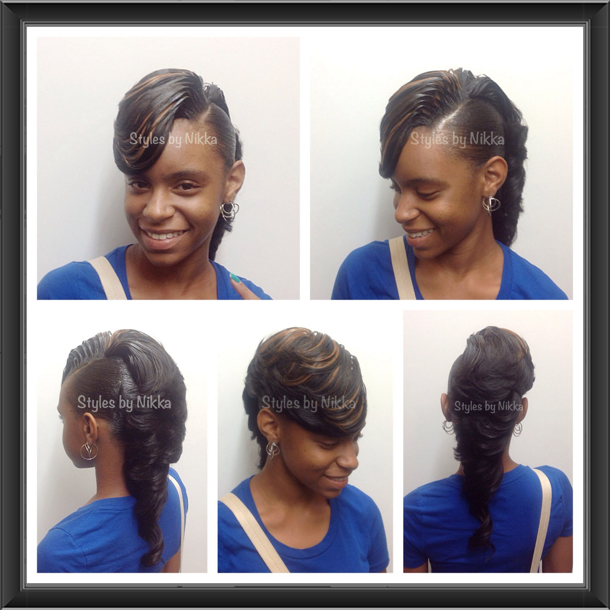 African american hairstyles quickweave feathered mohawk