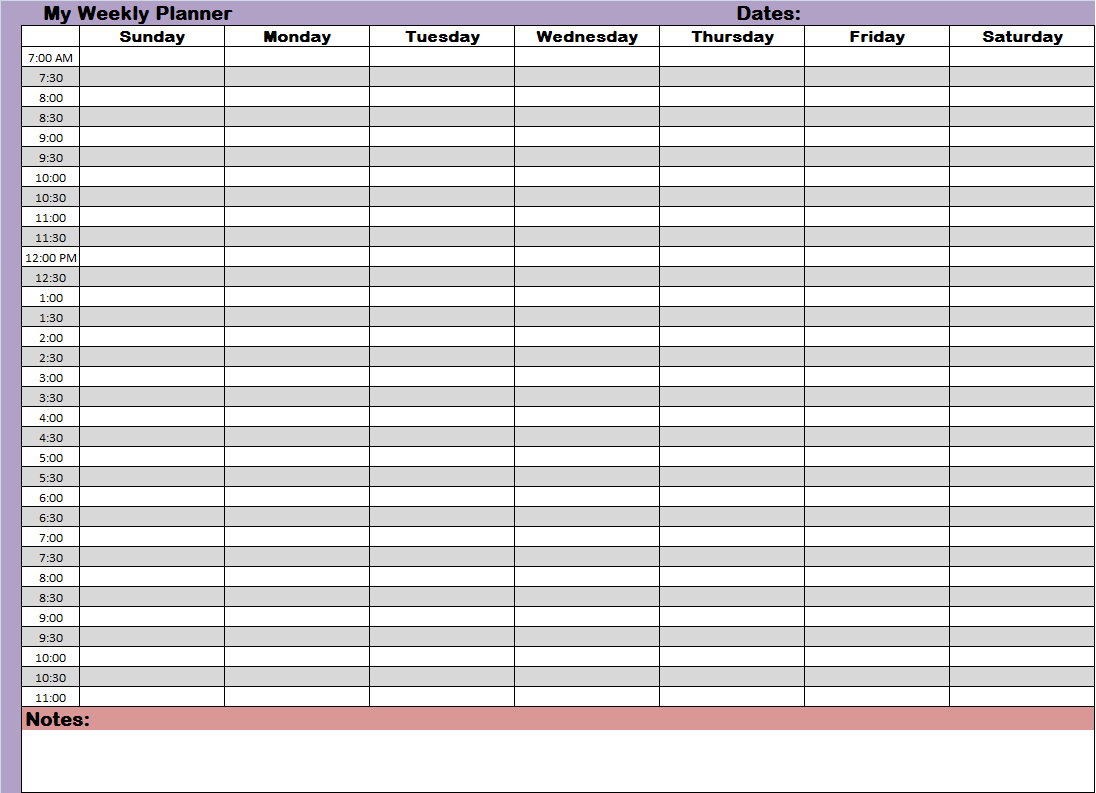 Calendar Planner Scheduling : Weekly hourly time management sheet financial