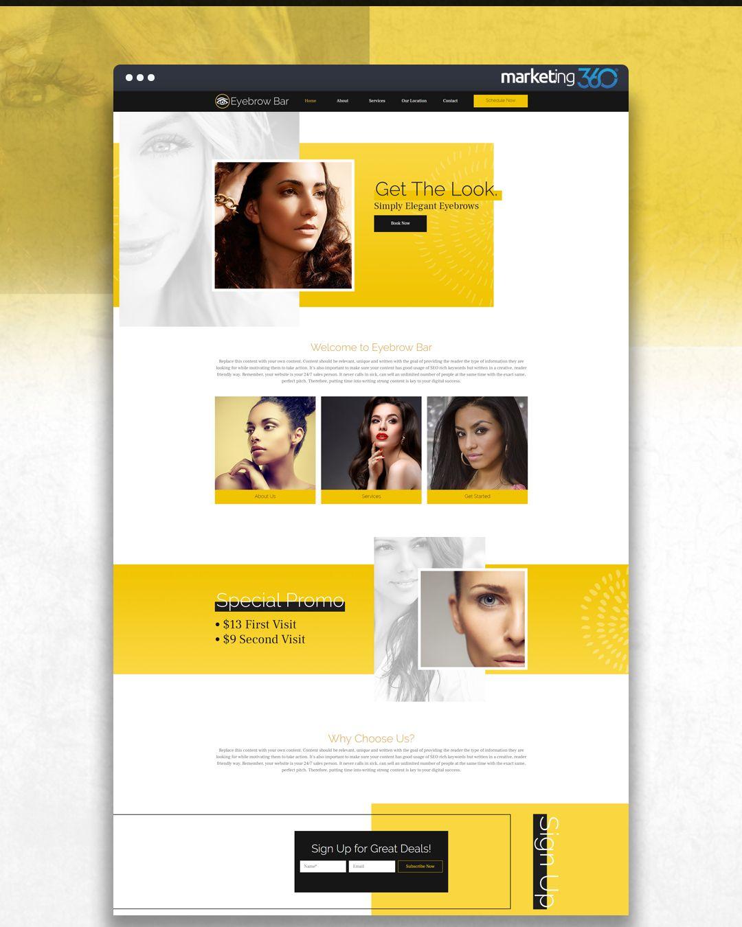 Design Of The Day Eyebrow Bar Website Design Concept By Our Talented Designer Casey Hoerr Online Web Design Bar Website Design Website Design