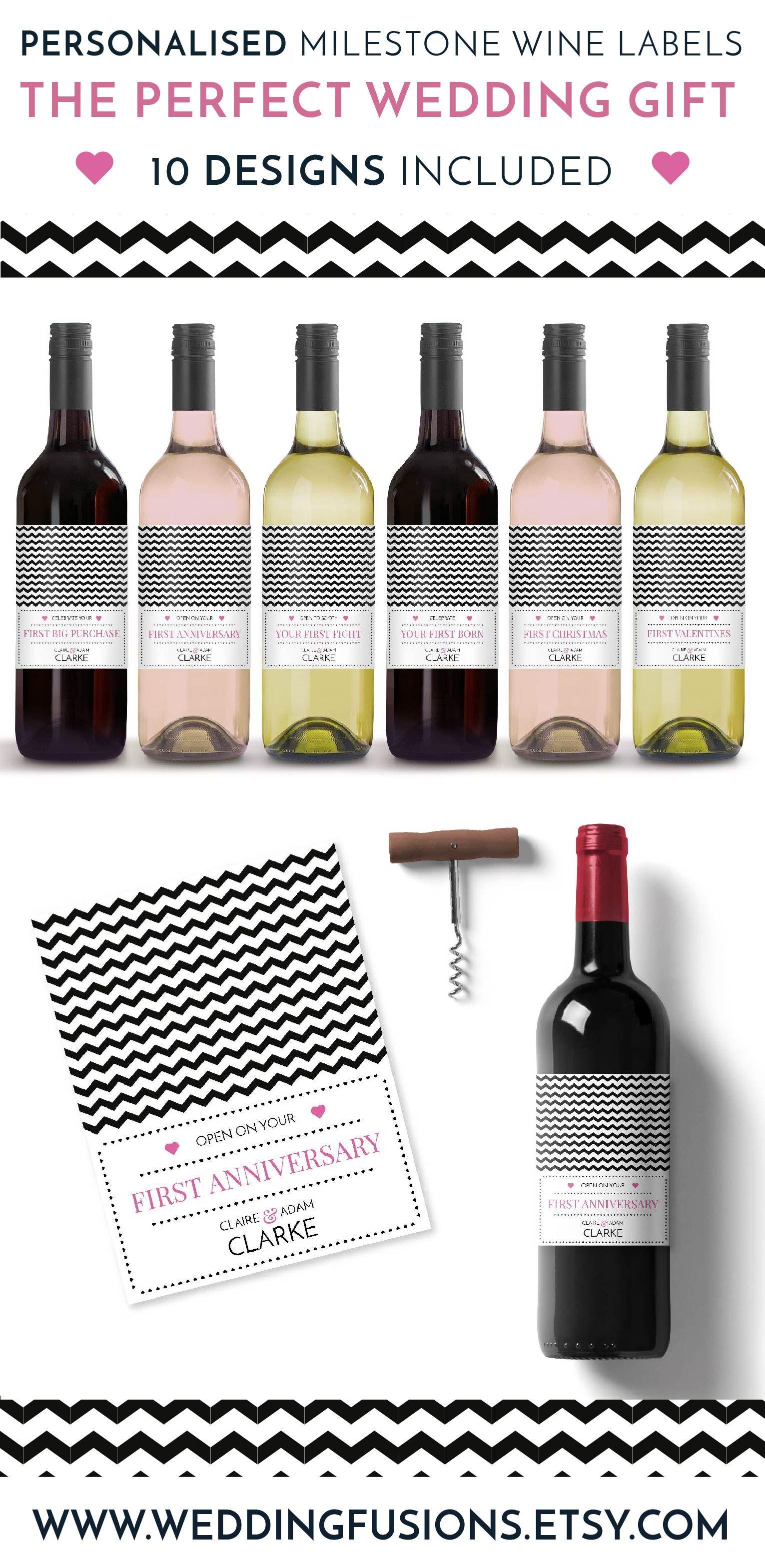 Wedding Gift Idea wine label milestone Wedding Gifts For the Bride