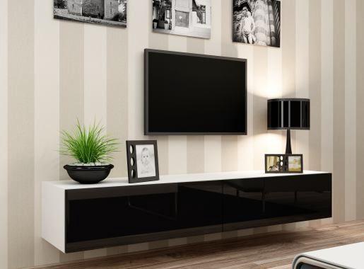 Tv Kast Zwart Wit.Zwevend Hoogglans Zwart Wit Tv Meubel Bestaande Uit Twee Kleppen