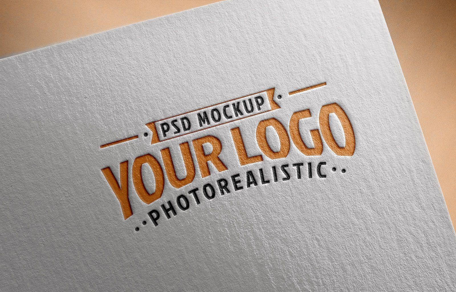 Free Logo Mockup Psd On Textured Paper Desain