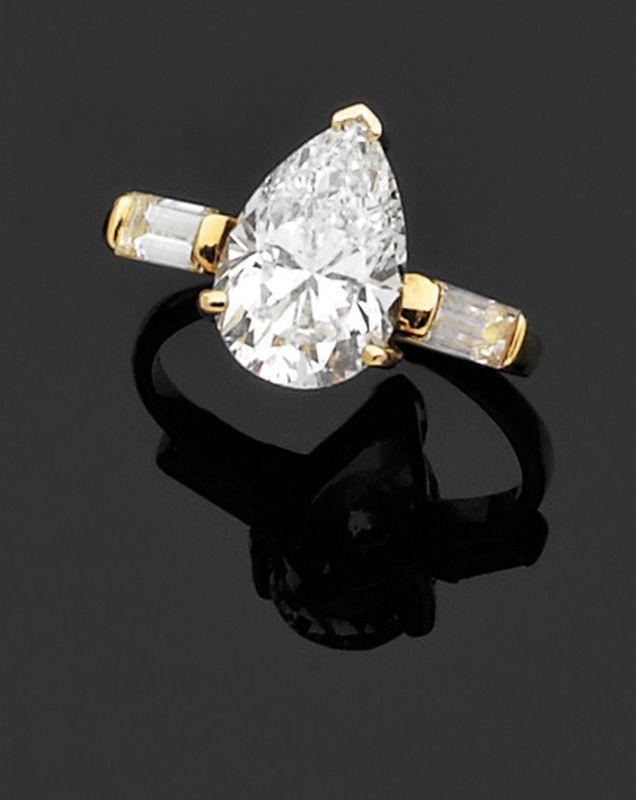 Souvent Bague solitaire en or jaune serti d'un diamant de forme poire  XM83
