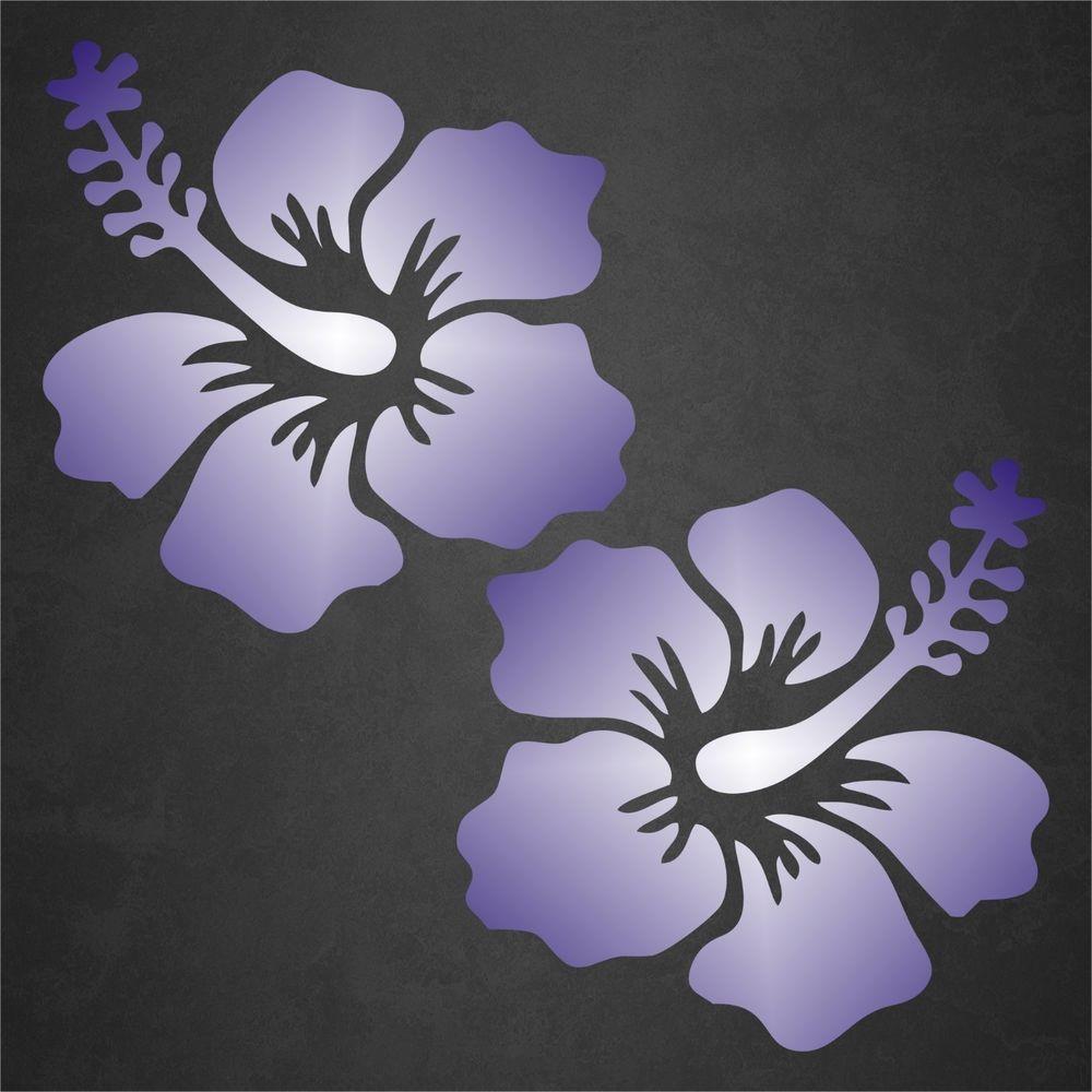 2 Hibiscus Flower Sticker Decal Tropical Beach Hawaiian Car Window Blue White Hibiscus Flowers Tropical Beach Vinyl Art [ 1000 x 1000 Pixel ]