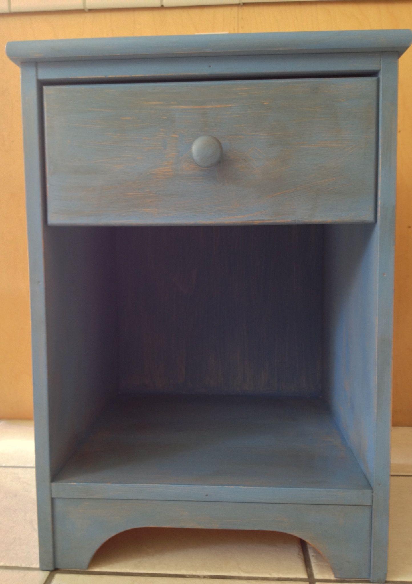 Annie Sloan Greek blue distressed bedside table