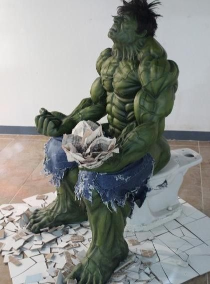 The Hulk using the restroom  A sculpture inside a shopping mall in Seoul   South. The Hulk using the restroom  A sculpture inside a shopping mall in