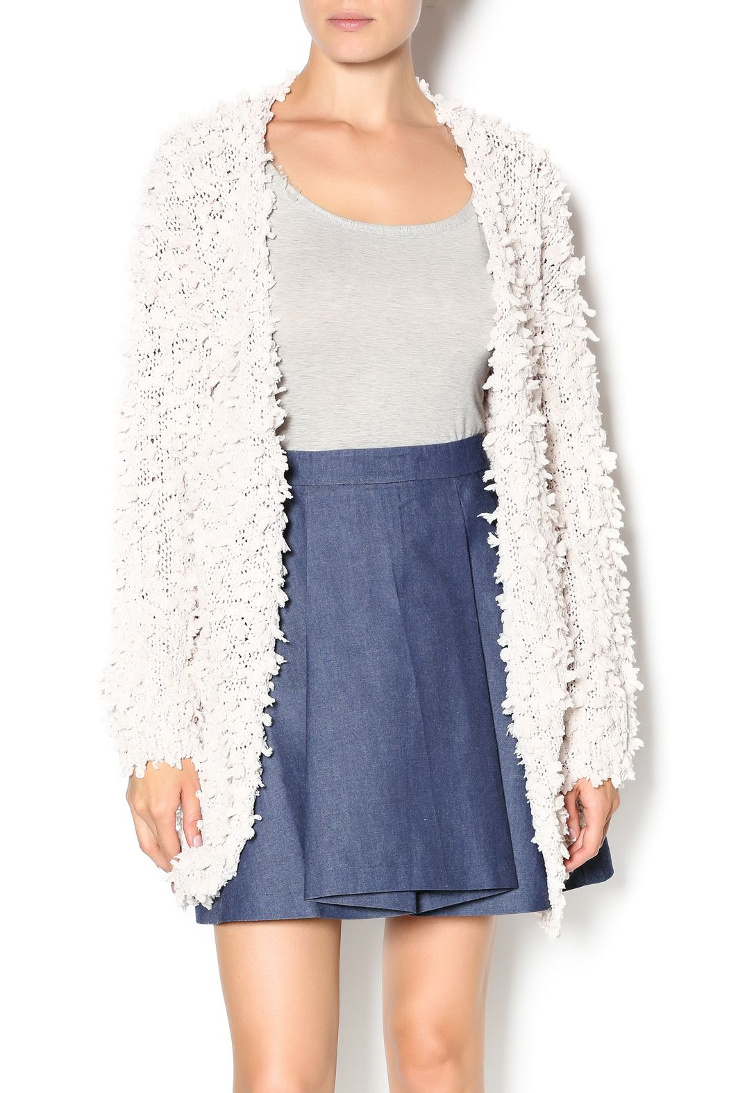 C. Luce Cream Fuzzy Cardigan | Open cardigan and Boutique