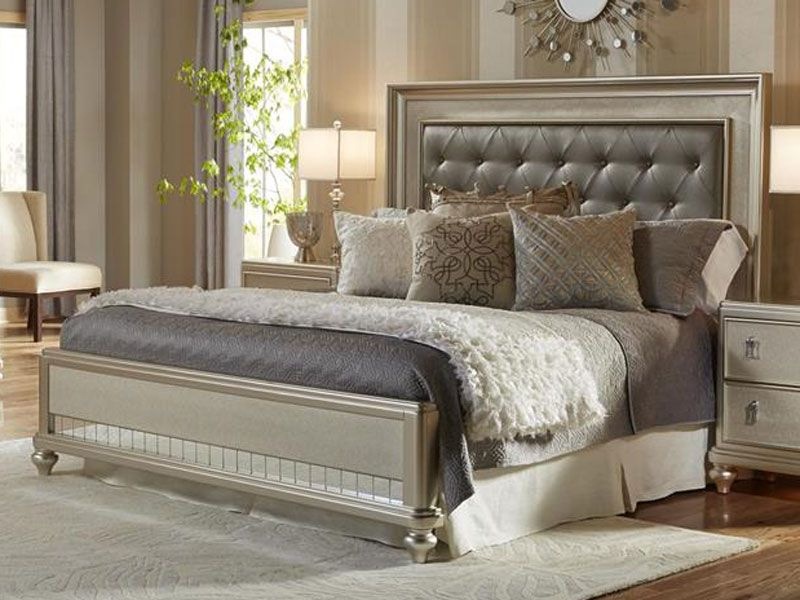diva queen platinum bling upholstered bed pkg