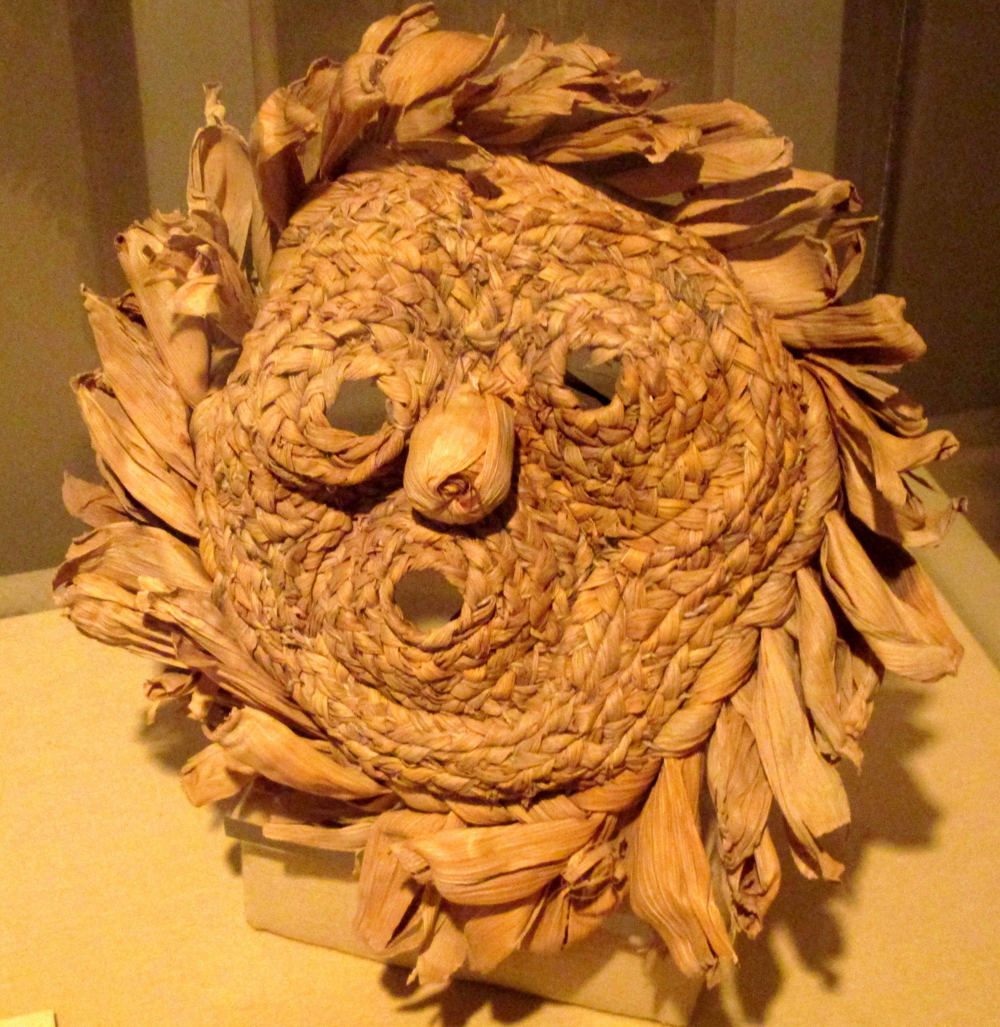 """Early 20th Century Iroquoian (First Nations) Mask at Château Ramezay, Montreal - From the curators' comments: """"Masks represent the spiritual beings they depict and take on their power. Certain ritual objects, such as masks and medicine bags, were considered sacred. Thus, they could be seen by initiates only: shamans, healers and seers or when they were used in special ceremonies."""""""
