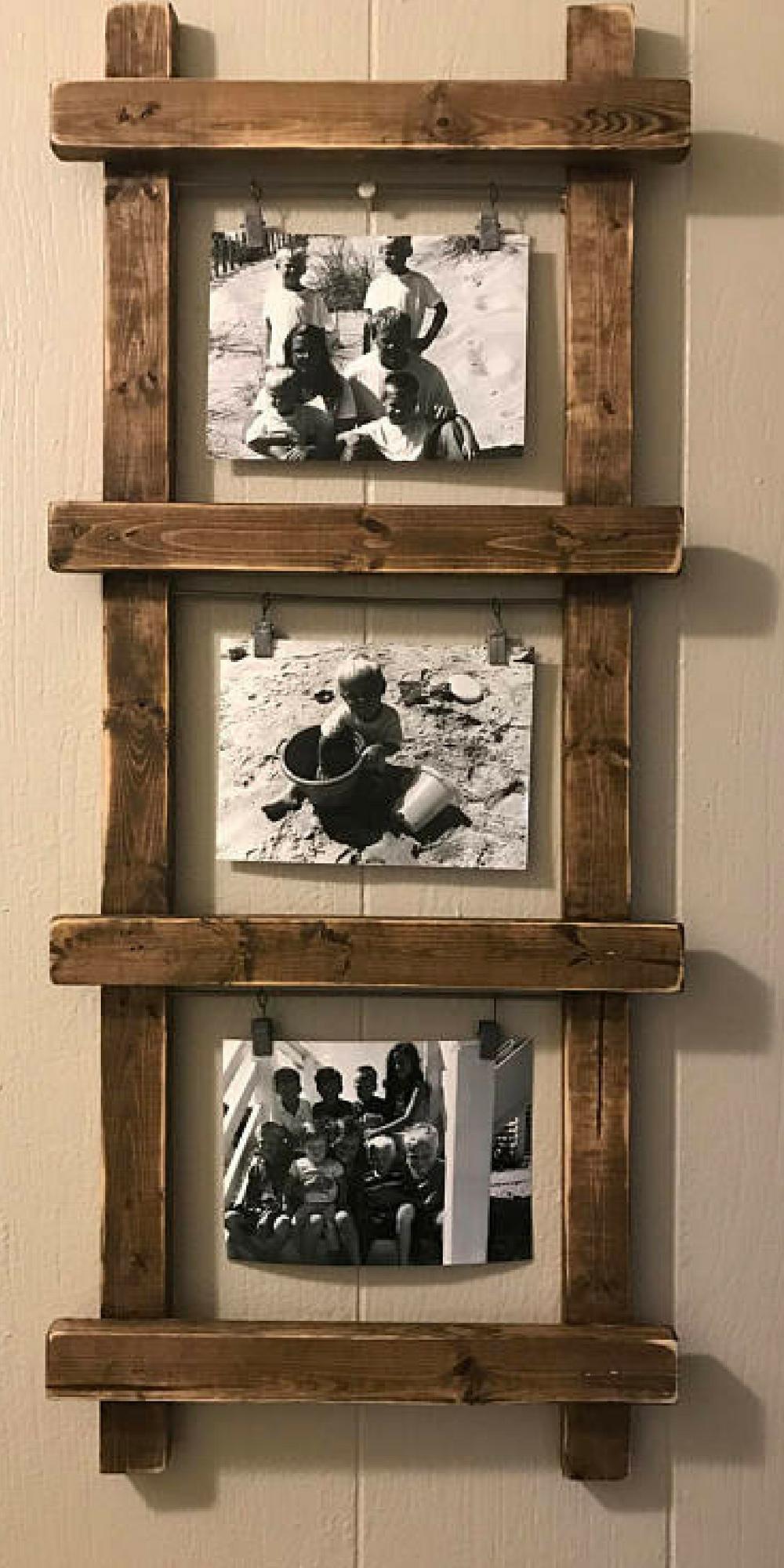 Rustic photo holder ladder photo holder ladder decor rustic decor