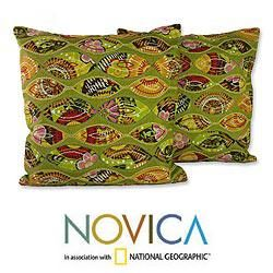Shop for Set of Two Polyester 'Meeting Eyes' Cushion Covers , Handmade in India . Get free delivery at Overstock.com - Your Online Home Decor Store! Get 5% in rewards with Club O!